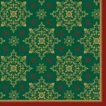 Serviette 33 cm x 33 cm 3-lagig 1/4 Falz Xmas Deco green Produktbild