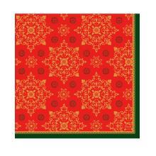 Serviette 33 cm x 33 cm 3-lagig 1/4 Falz Xmas Deco red Produktbild
