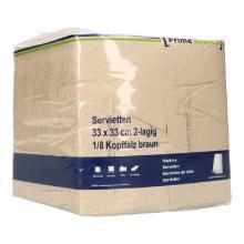 Serviette 33 cm x 33 cm 2-lagig 1/8 Kopffalz braun PrimeSource BeGreen Produktbild