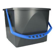 Eimer 17L anthrazit mit Griff blau Produktbild
