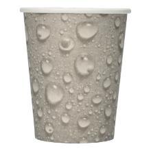 Zahnputzbecher/Trinkbecher aus Pappe 200ml/8oz im PolybeutelDruck: grau, Wassertropfen Produktbild