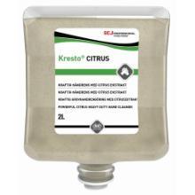 Deb håndrens Kresto Citrus påføres på tørre hænder og indgnides gul 4x2 ltr product photo