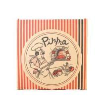 Pizzaæske brun 26x26x3 cm Pizzamand og lodrette striber sort og rød product photo