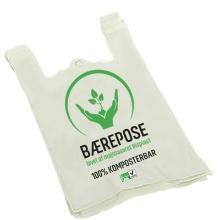 Bærepose T-shirt 300/(2x85)x500 mm 20 my Hvid med tryk Bionedbrydelig PLA product photo