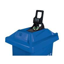 CONTAINER-120lt-BLEU:sur roues/couvercle avec pressse à cannettes photo du produit