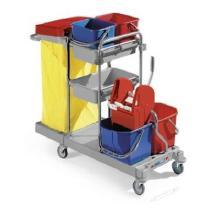 Tech 150:chariot de lavage gris avec support sac 120lt,sans presse -Techline photo du produit