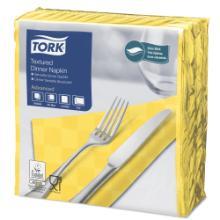 `TORK TEXTURED DINNER NAPKINS`: serviette-`JAUNE 38x39cm- 2pl.- 1/4- (18x50 photo du produit
