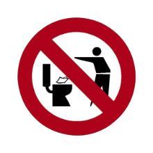 """`PICTOGRAMME """"Ne pas jeter dans les WC"""" (diam.50) Logo rouge/noir sur fond blanc photo du produit"""