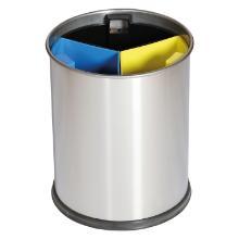 `CORBEILLE RONDE DE TRI` 13LT / Inox bacs 3 compartiments colorés photo du produit