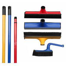 Balai - raclette caoutchouc - manche télescopique - bleu - rouge - jaune photo du produit