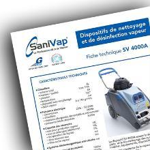 PROCEDURE TECHNIQUE D'UTILISATION DU BIO NETTOYEUR SANIVAP 4000 A [SV4000A] photo du produit