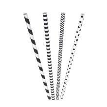Rietje zwart en wit assorti 6x200mm papier Artikel foto