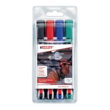Marker permanent 1,5-3mm assorti kleur zwart,blauw,groen,rood (pak 4 stuks) Artikel foto