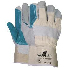 Splitlederen handschoen met groene pistoolversterking Productfoto