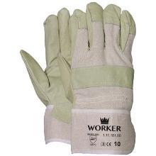 Varkensnerflederen handschoen met ecru doek Productfoto