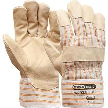Varkensnerflederen handschoen met gestreept doek Productfoto