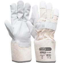 Nerflederen handschoen met 10 cm canvas écru kap Productfoto