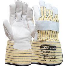 Nerflederen handschoen met gerubberiseerde gele kap Productfoto