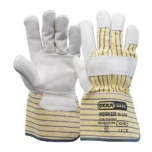 Nerflederen handschoen met gerubberiseerde gele kap en pistoolversterking Productfoto