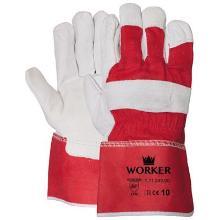 Nerflederen handschoen met gerubberiseerde rode kap Productfoto