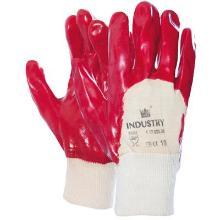 Handschoen PVC rood met tricot manchet en ventilerende rugzijde Productfoto