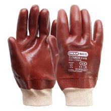 Handschoen PVC rood met tricot manchet en gesloten rugzijde Productfoto