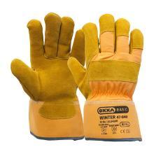 Splitlederen winterhandschoen met gele kap Productfoto