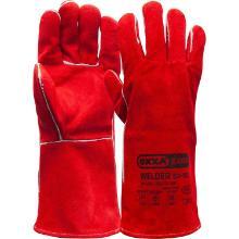 Lashandschoen van rood splitleder met Kevlar garen gestikt Productfoto