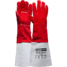 Welding glove made or red split leather with long gauntlet product photo