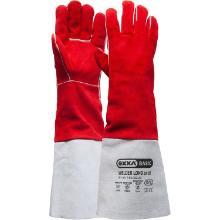Lashandschoen van rood splitleder met lange kap Productfoto