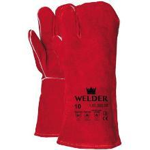 Lashandschoen van rood splitleder, 3-vinger model Productfoto