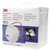 3M 8833S stofmasker FFP3 R D met uitademventiel in kleinverpakking Productfoto