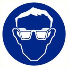 Oogbescherming verplicht sticker diameter 200 mm Productfoto