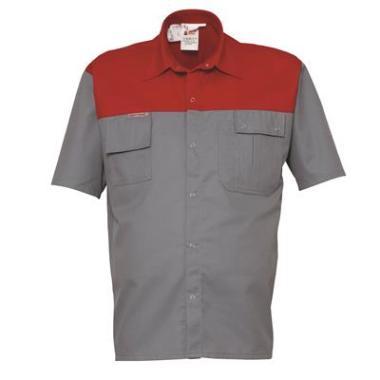 overhemd K/P 1564 K/M grijs/rood  3XL