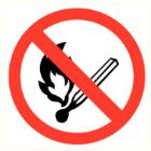 Vuur, open vlam en roken verboden bord diameter 200 mm Productfoto