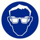 Oogbescherming verplicht sticker diameter 90 mm Productfoto