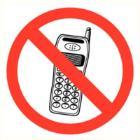 Mobiele telefoon verboden sticker diameter 90 mm Productfoto