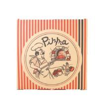 Pizzaæske 26x26x3 cm Brun med Tryk Pizzamand Lodrette Striber Sort/Rød product photo