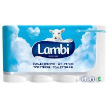 Toiletpapir Lambi Classic 3 lag hvid nyfiber 21.25 m med 170 ark pr rulle Hvid product photo