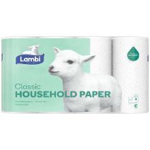 Køkkenrulle Lambi Classic 3-lag 12,33 m 90 ark Nyfiber Hvid product photo