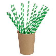Sugerør papir uden knæk med grønne striber 210 mm Ø6 mm product photo