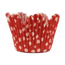 Muffinsform 50x49/35 mm flower Dots rød med hvide prikker product photo