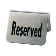 Bordskilt RESERVED Rustfri stål/Sort skrift product photo