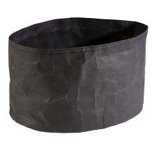 Brødkurv 30x20x18 cm Oval Kraftig foldbar papirspose Læderlook Sort product photo