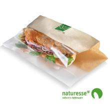 Sandwichpose 280x100x30 mm bionedbrydelig Papir/PLA Brun/Klar product photo