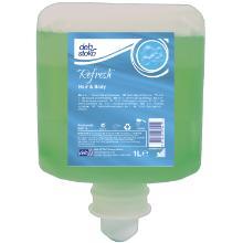 Sæbe Flydende Refresh Hair and Body med Parfume til 1 ltr Grøn product photo
