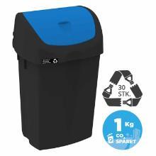 Affaldsbeholder Nordic Recycle 25 ltr Sort Blå vippelåg product photo