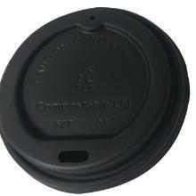 Plastlåg højt m/drikkehul Ø62 mm t/espressobæger 4 oz CPLA bionedbrydelig Sort product photo
