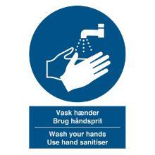 Skilt Vask hænder - brug håndsprit DA/ENG tekst 210x297 mm Selvklæbende vinyl product photo