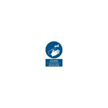 Skilt Vask hænder - brug håndsprit DA/ENG tekst 210x297 mm Plast product photo
